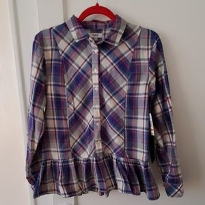 Kensie plaid ruffle peplum cotton blouse top S